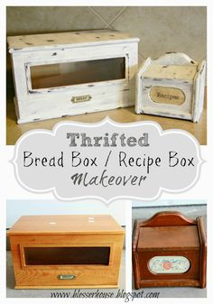 Thrifted Bread Box / Recipe Box Makeover – Bless'er House – Brilliant DIY Thrift Store Crafts You Should Totally Try Upcycled Crafts, Diy Crafts, Wood Crafts, Furniture Makeover, Diy Furniture, Painted Furniture, Resale Furniture, Furniture Board, Furniture Refinishing