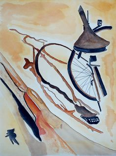 Modern Abstract Art Bike Parts, Contemporary Bicycle An Original Watercolor Painting. Size 12x16 Unframed.