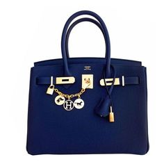 Hermes Navy Blue Nuit Togo 30cm Birkin Gold Hardware Bleu Nuit... ❤ liked on Polyvore featuring bags, handbags, blue handbags, hermes bag, top handle handbags, hermes handbags and blue purse