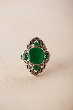 Green and Marcasite Ring