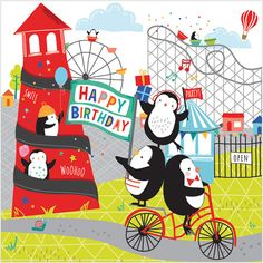 Birthday Penguins - birthday card from Phoenix Trading. Cards from £1.75 per card or £1.40 when buying 10 or more. Children, children's birthday cards #CarolinesCardsandStationery #CarolineStokleIndependentPhoenixTrader
