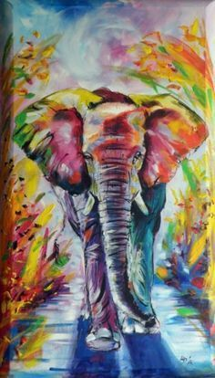 What a pretty colored elephant painting! Easy-Acrylic-Painting-Ideas-for-Beginners