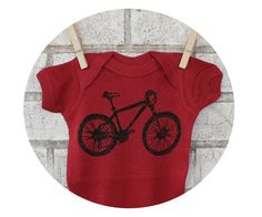 Baby Mountain Biker Shirt Hand Pritned One Piece by CausticThreads