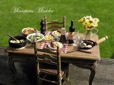Miniature Dollhouse Table Dinner In The Backyard by Minicler