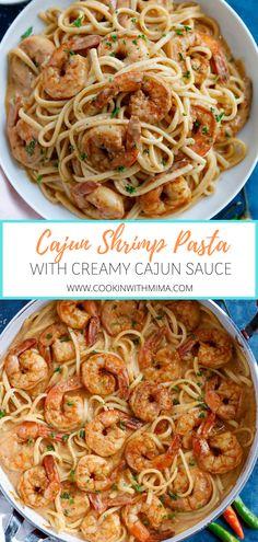 Cajun Shrimp Recipes, Cajun Shrimp Pasta, Creamy Pasta Recipes, Shrimp Pasta Recipes, Shrimp Dishes, Pasta Dishes, Seafood Recipes, Dinner Recipes, Cooking Recipes