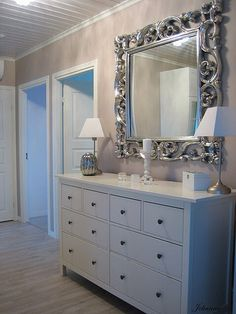 white dresser with large mirror frame rm