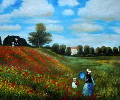 Poppy Field in Argenteuil � Claude Monet  art - oil painting - home decor