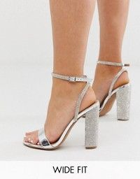 Glamorous Wide Fit cross strap heeled