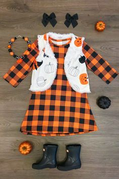 best=Black Orange Plaid Dress REVERSIBLE Vest Set RESTOCKED , A long dress makes an elegant statement at any formal event whether it is prom, a formal dance, or wedding. Vest Outfits, Fall Outfits, Kids Outfits, Cute Outfits, Halloween Outfits For Kids, Toddler Girl Christmas Outfits, Halloween Stuff, Halloween Kids, Fashion Outfits