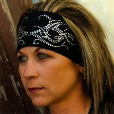 Stretch Head Band Embellished with Clear Rhinestone Tribal Scroll - Black TotalWrap