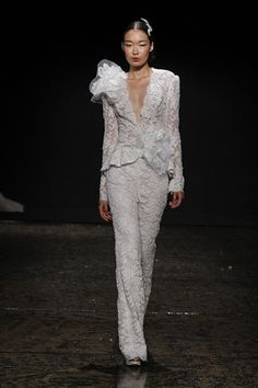 Would you wear a pantsuit to your wedding? Check out this one by Lazaro! (Photo: Dan Lecca)