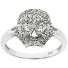 Eternally Haute Sterling Silver Cubic Zirconia Pave Pirate Skull Ring ($23) ❤ liked on Polyvore