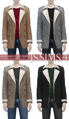 """jinglestartk:[JS SIMS 4] Mustang Coat Outfit Mesh edit by me Male - YoungAdult to Elder / 4 colors FullBody : Outerwear Category : Everyday package format available custom thumbnails included. » DOWNLOAD « please tag """"jinglestartk"""" if you use this, and I'll reblog your post, thank you <3"""