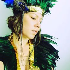 Peacock queen! Headdress and collar combo. Beautiful emerald feathers mixed with gold sequins for a truly Lux vibe. Get yours now!