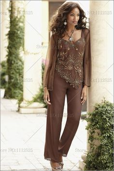 Delicate Chiffon with Beading mother of the bride pants suit with jacket