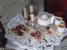 Dollhouse Miniature One inch Scale White Pumpkin Tea Set by Cspykersminiatures   eBay