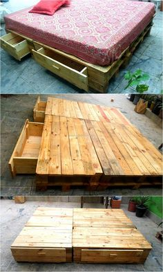 Bed is an expensive furniture item, so it is better to make it at home using the wooden pallets. This idea of creating upcycled wood pallet bed contains the drawers to store the blankets and bed sheets. The shoes can also be placed in the drawers.