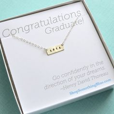 2014 Bar Necklace, Graduation Gift, Graduate Gift, Graduation necklace, Inspirational Jewelry, Hand Stamped necklace, Personalized Jewelry on Etsy, $35.50
