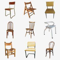 Chaise vintage : 21 modèles esprit rétro Table Vintage, Chaise Vintage, Style Retro, Dining Chairs, Furniture, Home Decor, Folding Chair, White Dining Chairs, Schoolgirl Style