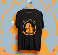 CHARMANDER FIRE POKEMON BLACK T-Shirt Unisex Size S,M,L,XL #Unbranded #ShortSleeve