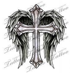 Marketplace Tattoo Cross with Wings #14700   CreateMyTattoo.com