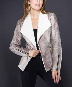 Another great find on #zulily! Adore Brown & White Snakeskin Jacket by Adore #zulilyfinds