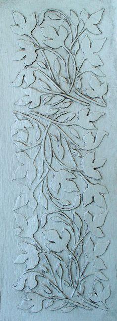 Raised Plaster  Leaf Panel Stencil by VictoriaLarsenDecor on Etsy, $22.99