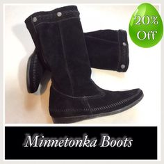 """Go BOHO In Minnetonka Suede Moccasin Boots These Black suede mid-Calf boots are perfect for the Boho Babe. Size: 7Color: BlackFit: Mid-Calf 12"""" from top to bottomCalf: 15""""Condition: Very gently Used. Minnetonka Shoes Winter & Rain Boots"""