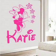 Google Image Result for http://i.ebayimg.com/t/PERSONALISED-WALL-ART-STICKER-GIRL-BEDROOM-MINNIE-MOUSE-/00/s/MTAwMFgxMDAw/%24(KGrHqFHJBEE7)7...