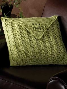 download a FREE pattern every day. ~ Cabled Envelope Pillow Cover  |  Crochet Stash .Tumblr .Com