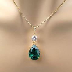 Emerald Green Necklace Swarovski Crystal by BeYourselfJewelry, $24.99