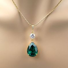 Would like a different color than emerald...  Emerald Green Necklace Swarovski Crystal by BeYourselfJewelry, $24.99