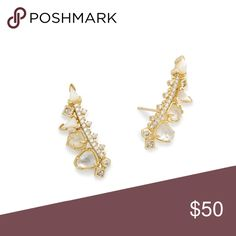 """New! Never worn! Gorgeous Kendra Scott earrings • 14K Gold Plated Over Brass • Size: 1.11""""L x 0.49""""W on post • Material: ivory mother-of-pearl doublet, ivory mother-of-pearl* Clarissa Ear Climbers In Ivory Mix Kendra Scott Jewelry Earrings"""