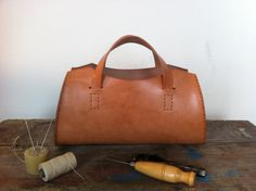Vegetable Tanned Leather Hand Bag on Etsy, $190.00