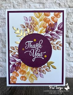 Thank You Cards, Note Cards, Karten Diy, Leaf Cards, The Draw, Christmas Cards To Make, Stamping Up Cards, Thanksgiving Cards, Card Patterns