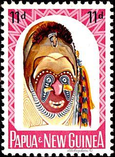Papua New Guinea.  VARIOUS CARVED HEADS. Scott 178 A39.  Issued 1964 Feb 5, Photo., Uwmk. Granite Paper, Perf. 11 1/2, 11d. /ldb.