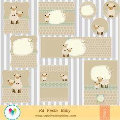 Arte para personalizar festa no tema ovelhinha para menino - Chá de Bebê | Creativstemplates