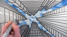 one point perspective city - YouTube