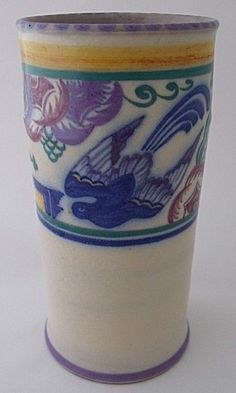 Early Large Poole Pottery PN Bluebird And Trellis Vase By Ruth Pavely - Art Deco