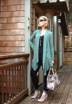 Blue cardigan and jeans