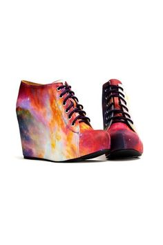 Black Milk Rainbow Galaxy Shoes Wedge Boot