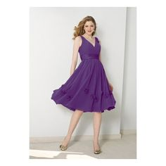 Purple V-Neck Flower Chiffon Bridesmaid Dress