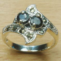 Double Stone Round Cut Genuine Sapphire Marcasite 925 Sterling Silver Ring