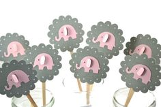 Grey and Pink Elephant Cupcake ToppersElephant por sunshowerstuff, $6.25