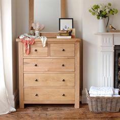 Portland Oak 2+3 Chest of Drawers, Mirror, fireplace, vintage scarves, basket, wooden floor, flowers, pictures, bedroom,
