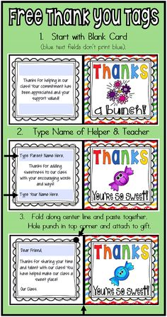 FREE editable Thank You Cards/Tags for your class volunteers and specialists. Click here to grab your FREEBIE!