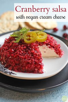 Cranberry salsa with cream cheese. This eye-catching holiday appetizer is full of vibrant color and flavor. Zesty cranberry sauce is put over non-dairy cream cheese for a tangy mixture of sour and sweet. Vegan Appetizers, Holiday Appetizers, Appetizer Recipes, Dessert Recipes, Cranberry Salsa, Cranberry Cheese, Non Dairy Cream Cheese, Vegan Crab, Vegan Thanksgiving
