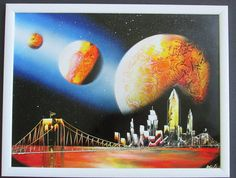 new york spray paint art framed artwork home decor wall art gift ideas for him space art universe planets  by FloralFantasyDreams on Etsy