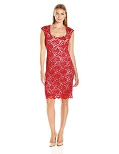 Tiana B Womens Floral Lace Sheath Dress with Sweetheart Neckline RedNude 10 *** Read more reviews of the product by visiting the affiliate link Amazon.com on the image.