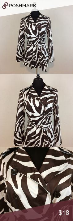 LIKE NEW Byer California Animal Print Trench Coat Brown and white, button closure, thin shoulder pads, . NOTE: Two small blemishes on right front (0.6x0.7cm and 0.9cm) reflected in price. Byer California Jackets & Coats Trench Coats